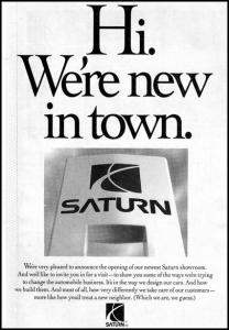 "Flashback Friday: Saturn ""New in Town"" Newspaper Ad"