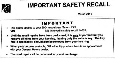 Ion Ignition Switch Recall Notice Letter