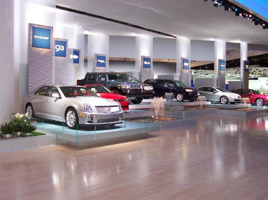 GM Cars at the Entrance to the GM Display