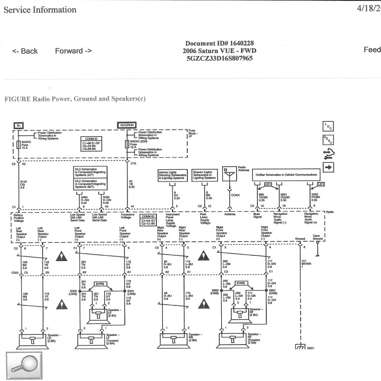 Radio_No_Amp_ _Saturn_Vue_06 1996 saturn sl2 radio wiring diagram saturn wiring diagrams for 2007 saturn ion headlight wiring diagram at crackthecode.co