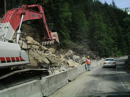 The rock slide and 30 minute delay