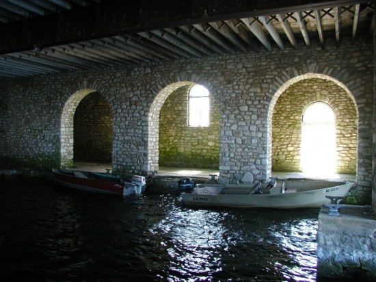 Boat house, underneath great hall, Rock Island, WI