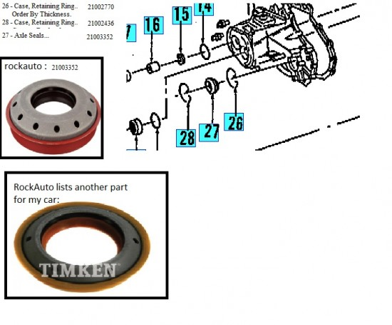 2002 saturn SL1 Manual Transmission Seal Rings